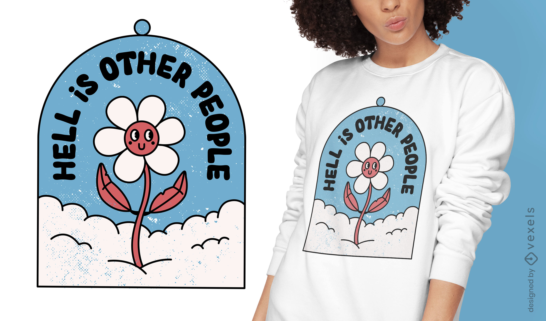 Antisocial flower retro cartoon t-shirt design