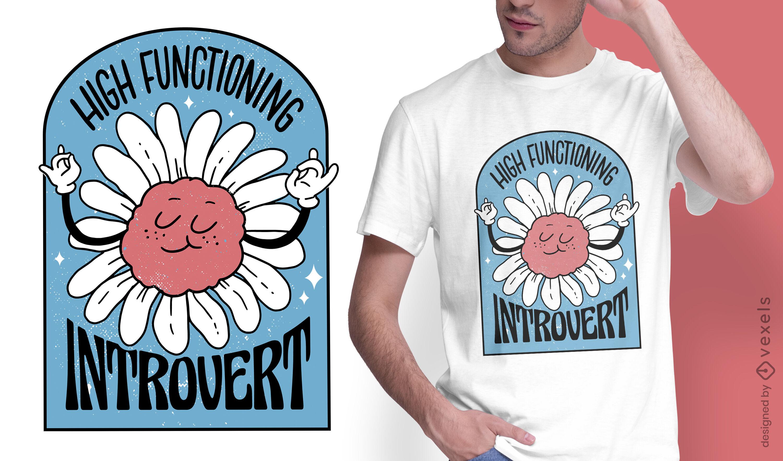 Design engraçado de t-shirt com flores anti-sociais