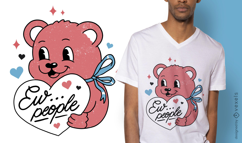 Lindo diseño de camiseta de oso de peluche antisocial.