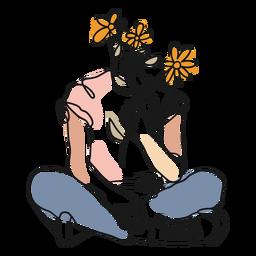 Traço de corpo e flores