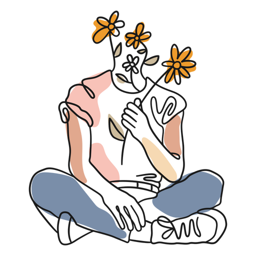 Body and flowers color stroke