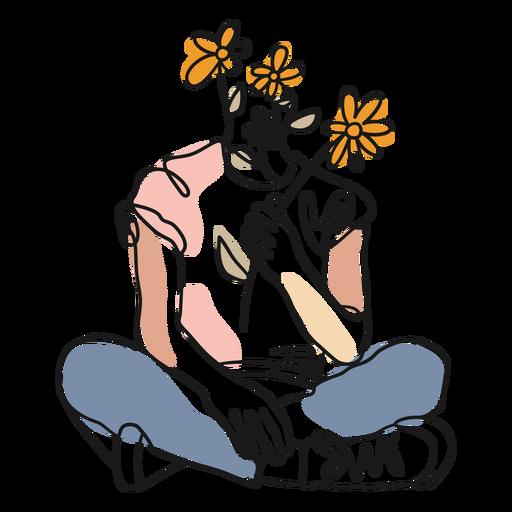 Trazo de color de cuerpo y flores.