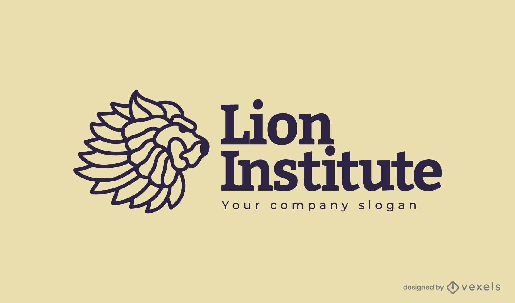 Lion institute animal logo design