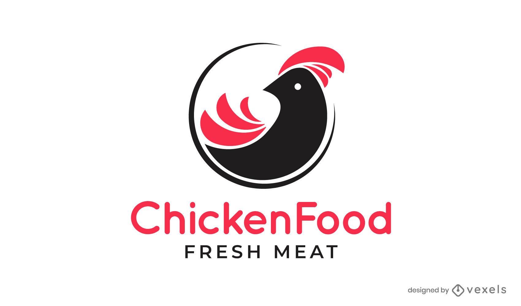 Projeto de logotipo recortado de ração animal para frango
