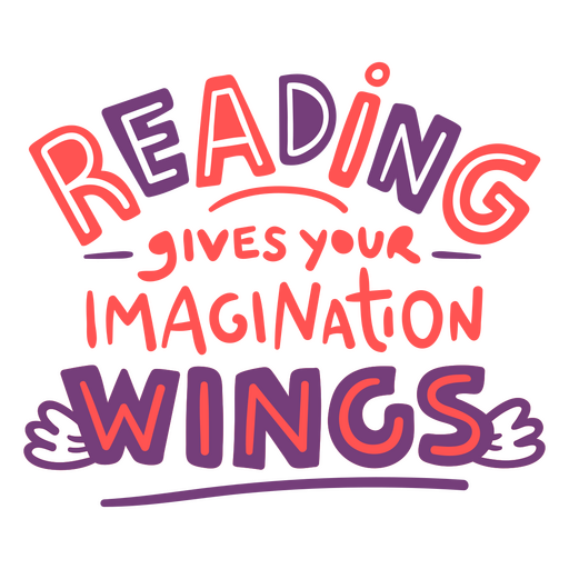 Reading gives wings quote color stroke