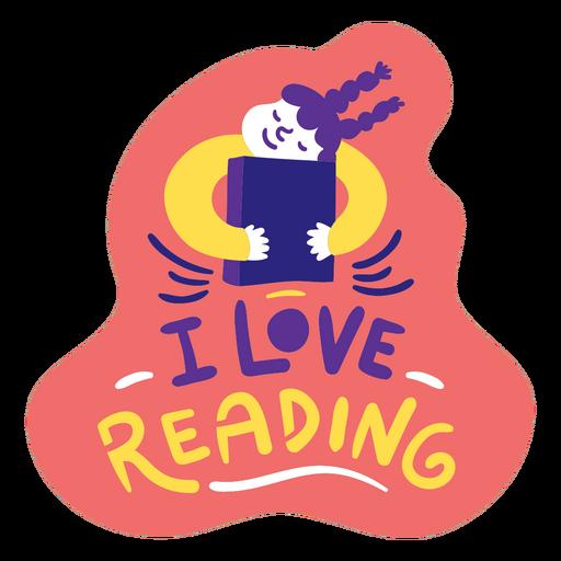 Girl hugging book reading badge