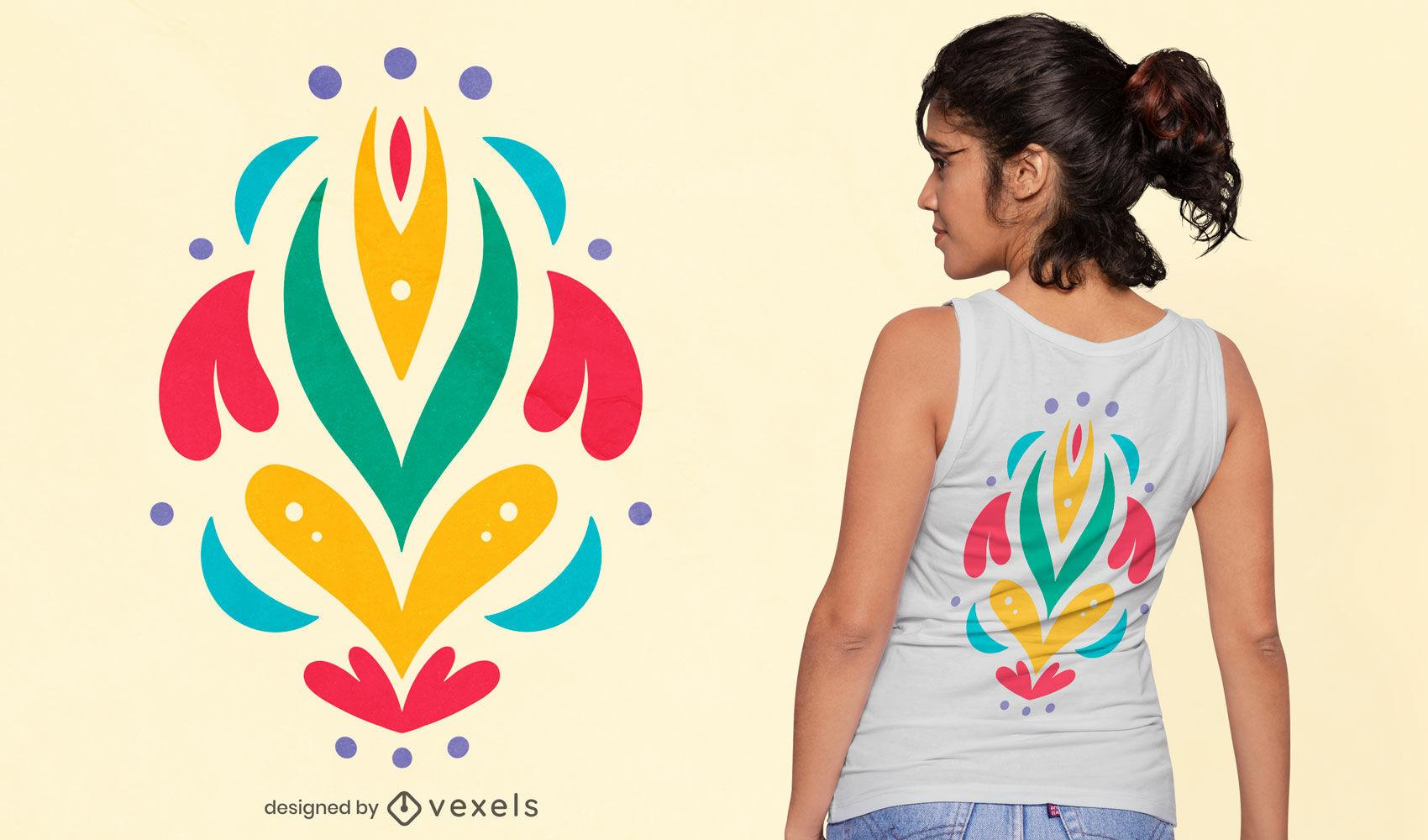 Diseño de camiseta otomí flores abstractas naturaleza