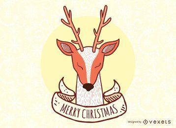 Sinal de vetor de Natal de renas