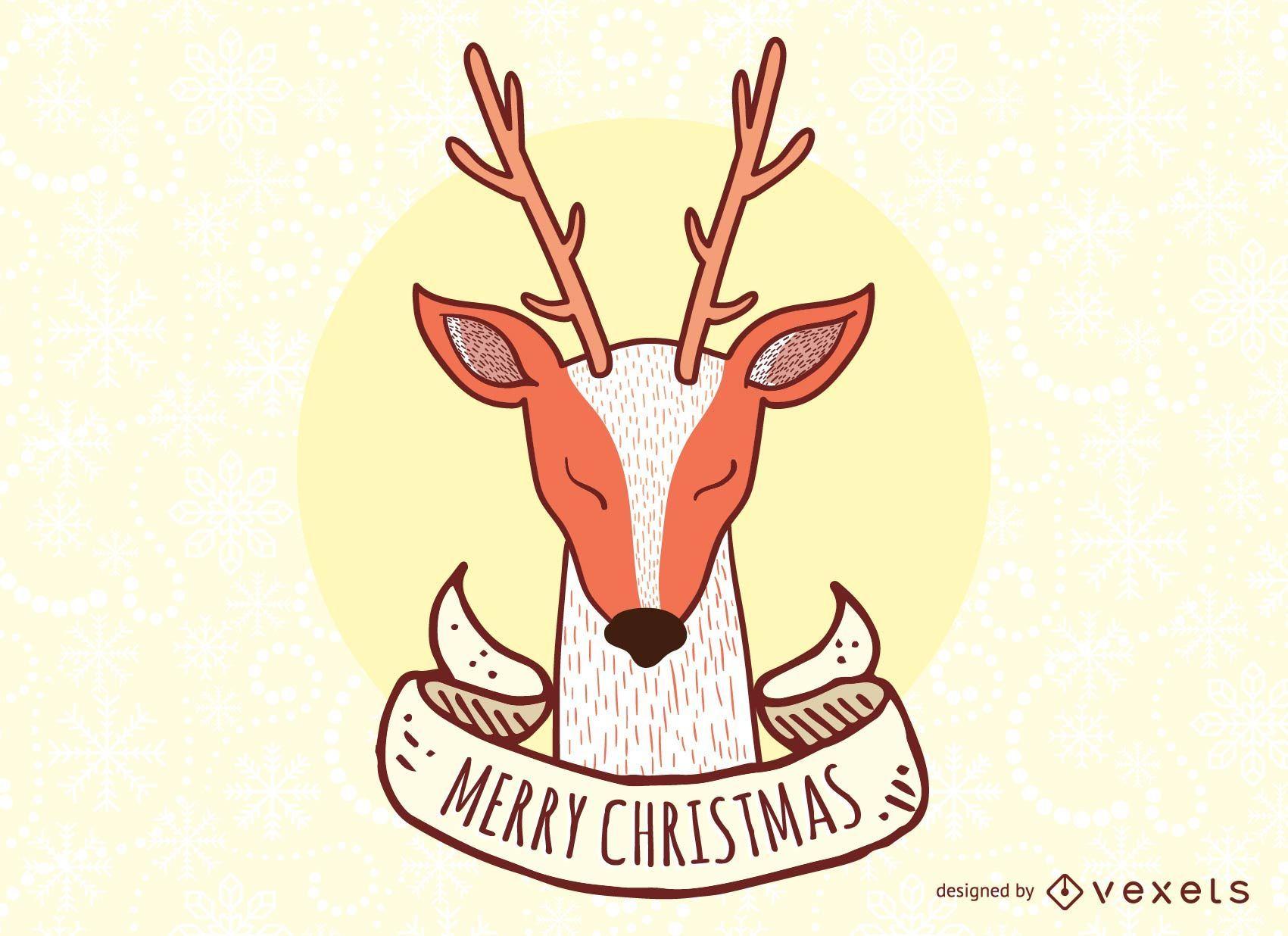 Reindeer  Christmas Vector sign