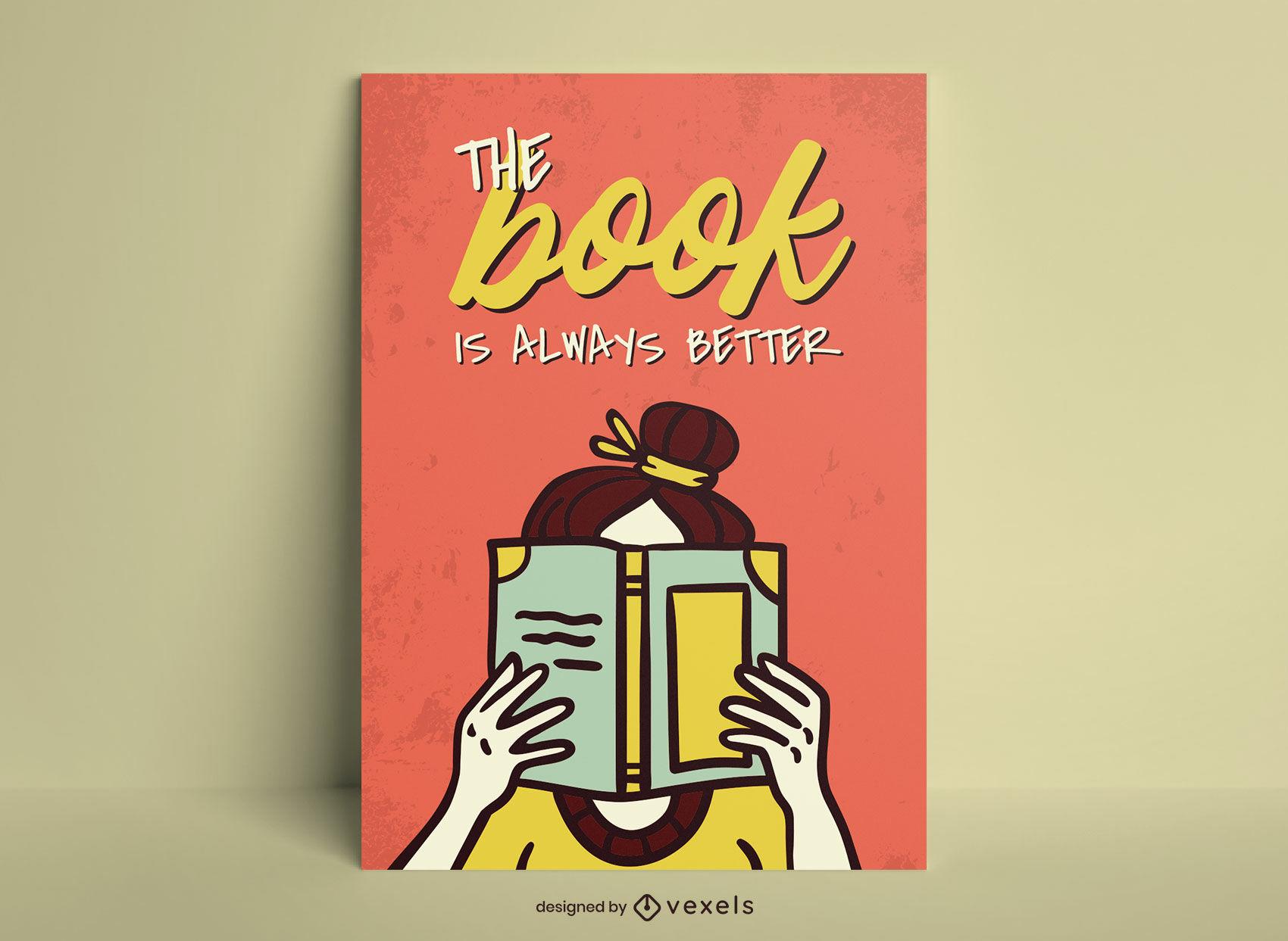Diseño de cartel divertido de niña lector