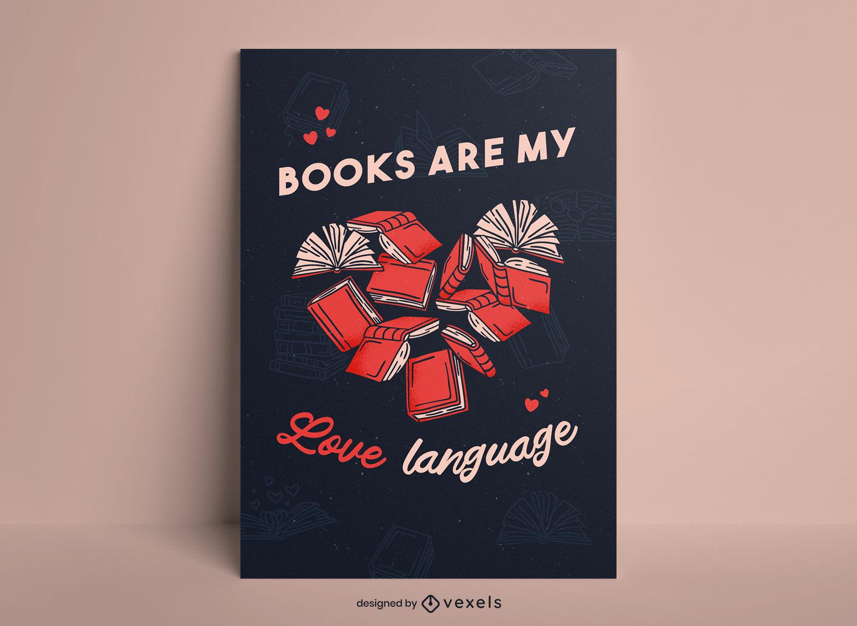 Diseño de cartel de amor de corazón en forma de libro