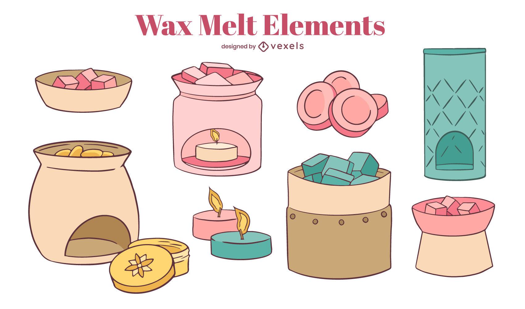 Wax melting elements colorful candle set