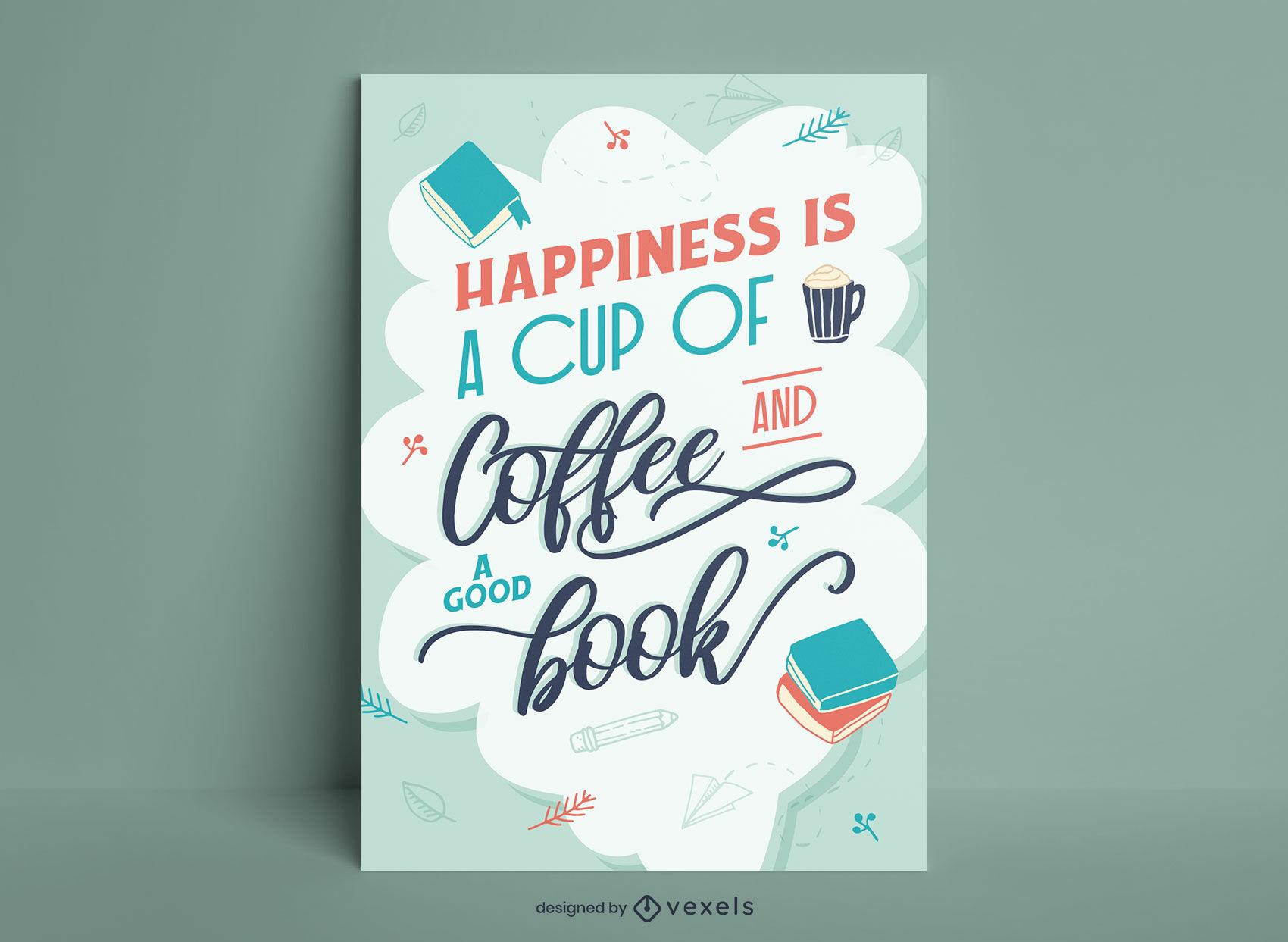 Leyendo un libro diseño de cartel de felicidad.