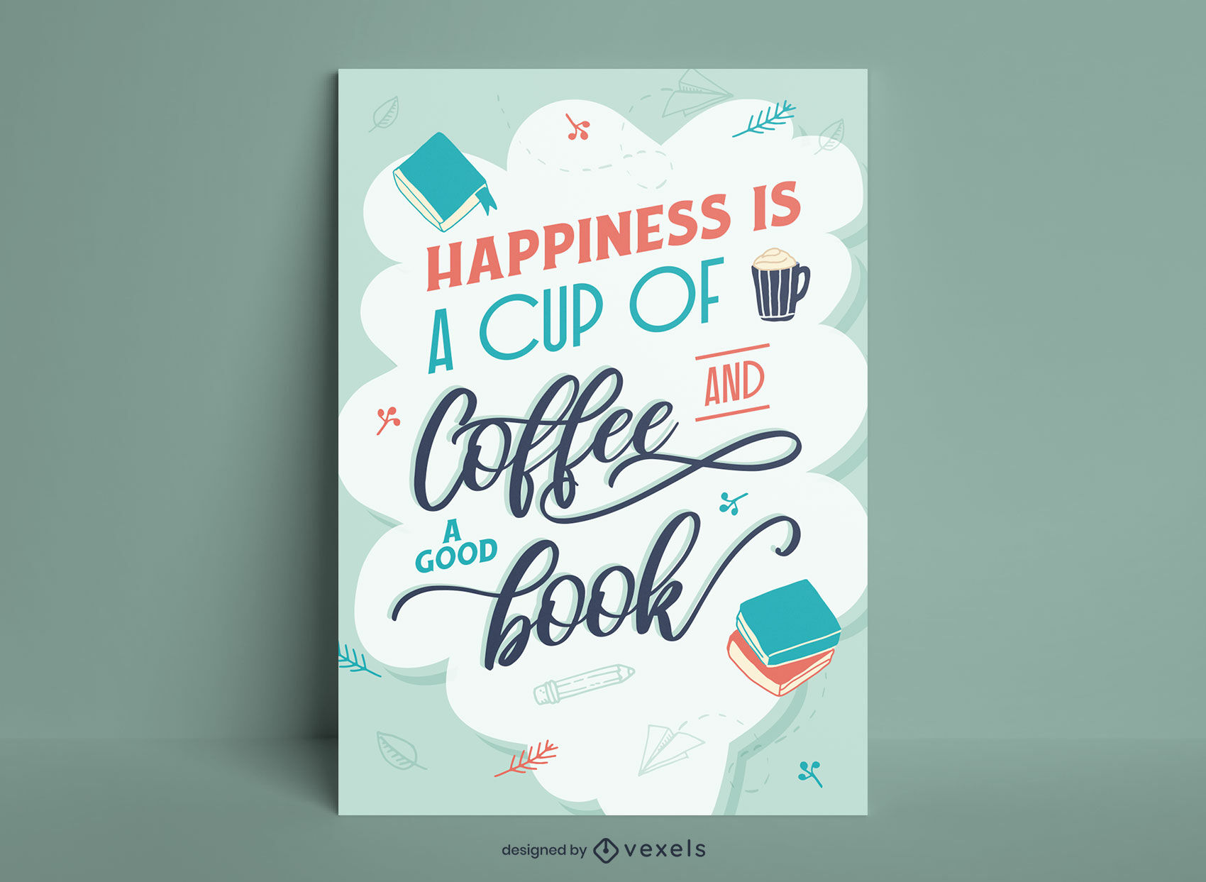 Reading a book happiness poster design