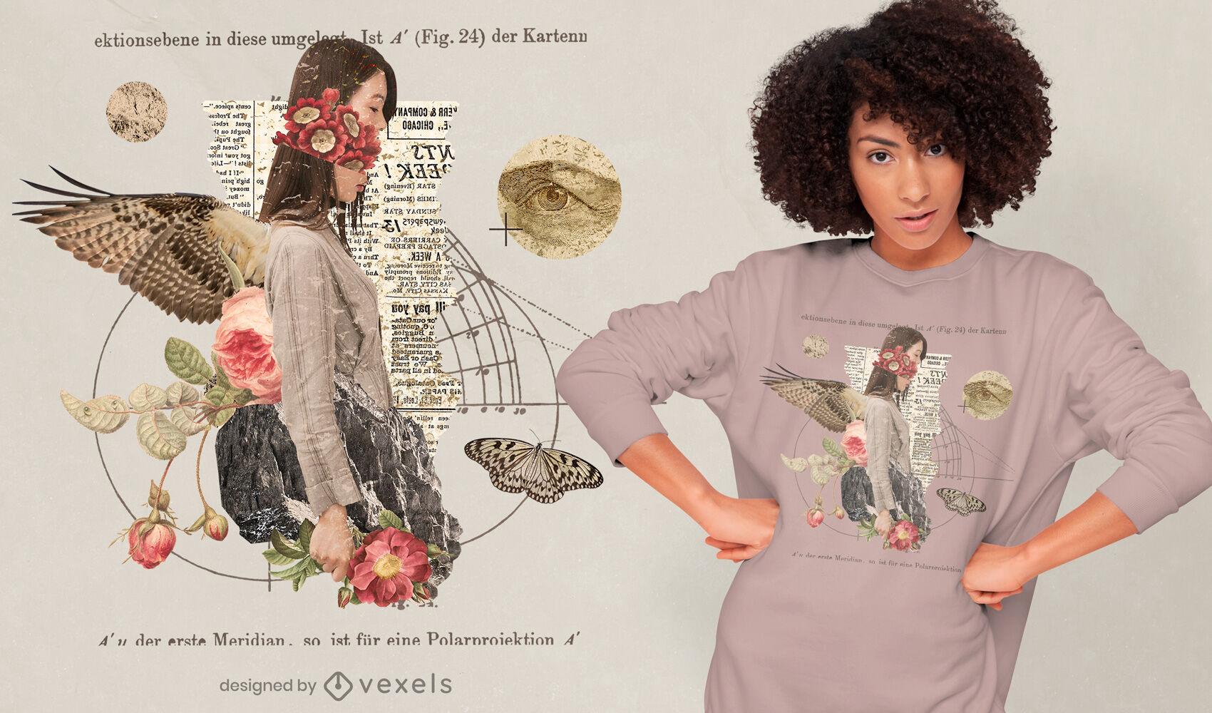 Diseño de camiseta gótica vintage collage mujer psd