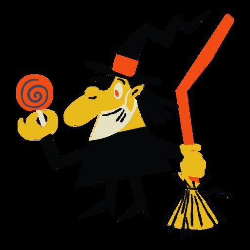 Cartoon-Hexe mit Süßigkeiten