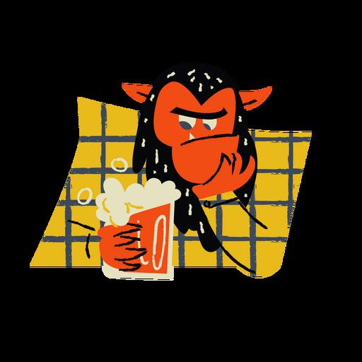 Cartoon demon with beer