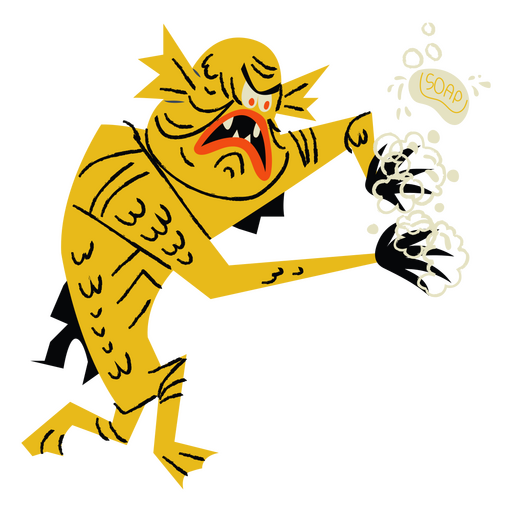 Cartoon fish monster character