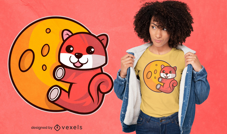 Shiba inu en el diseño de la camiseta de la luna
