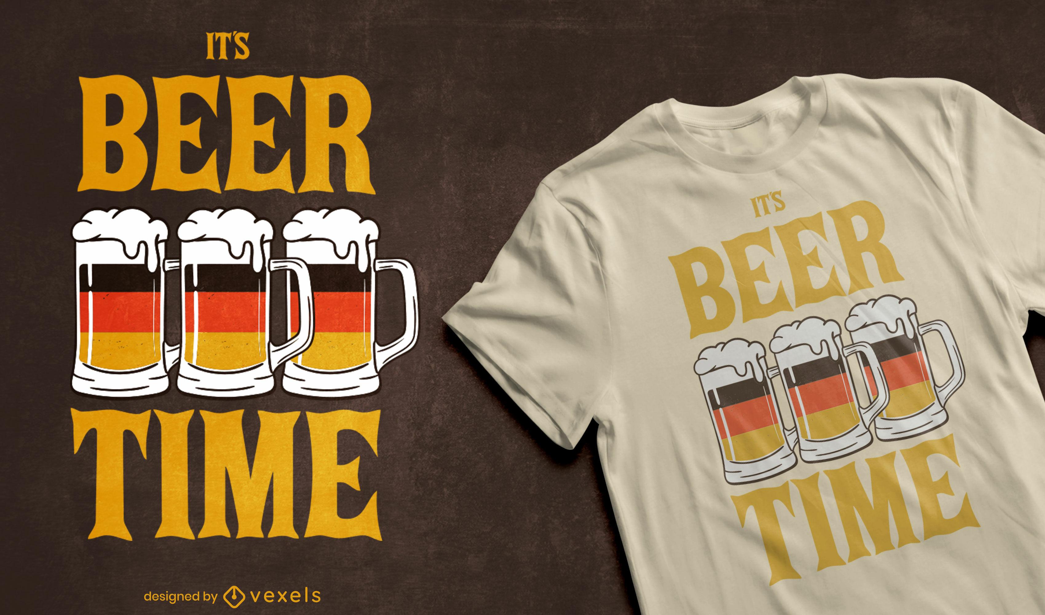 Dise?o de camiseta de bandera alemana de tiempo de cerveza.