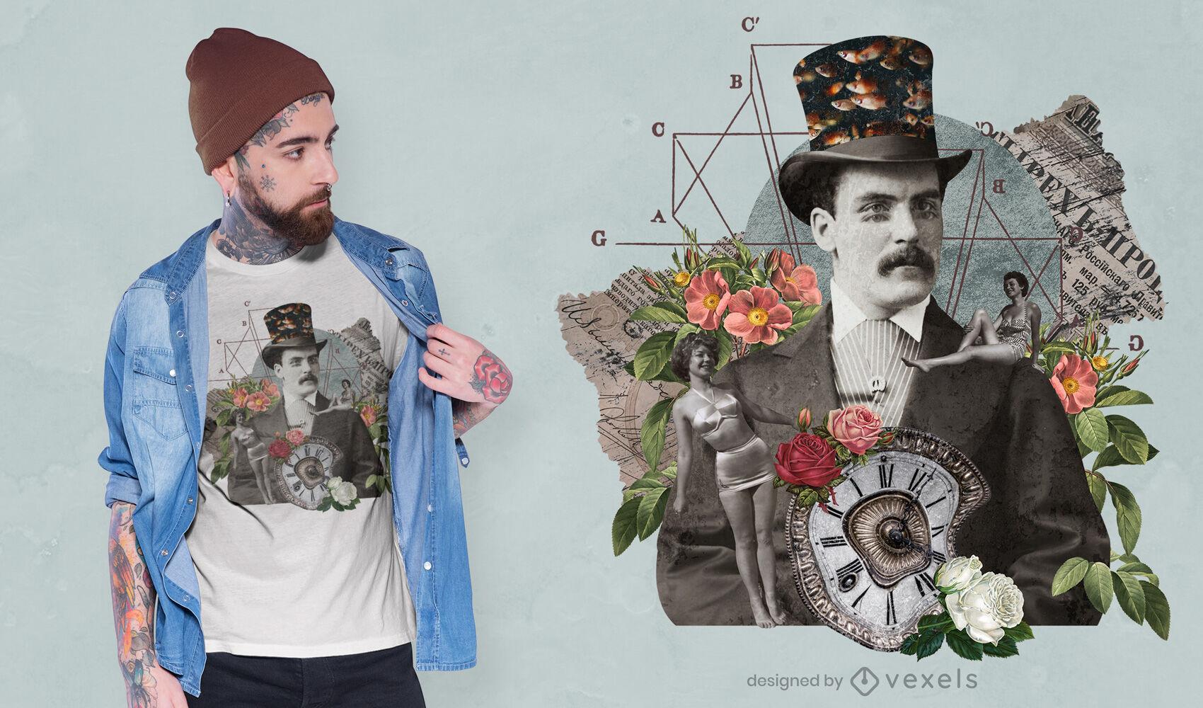 Gothic vintage collage man psd t-shirt design