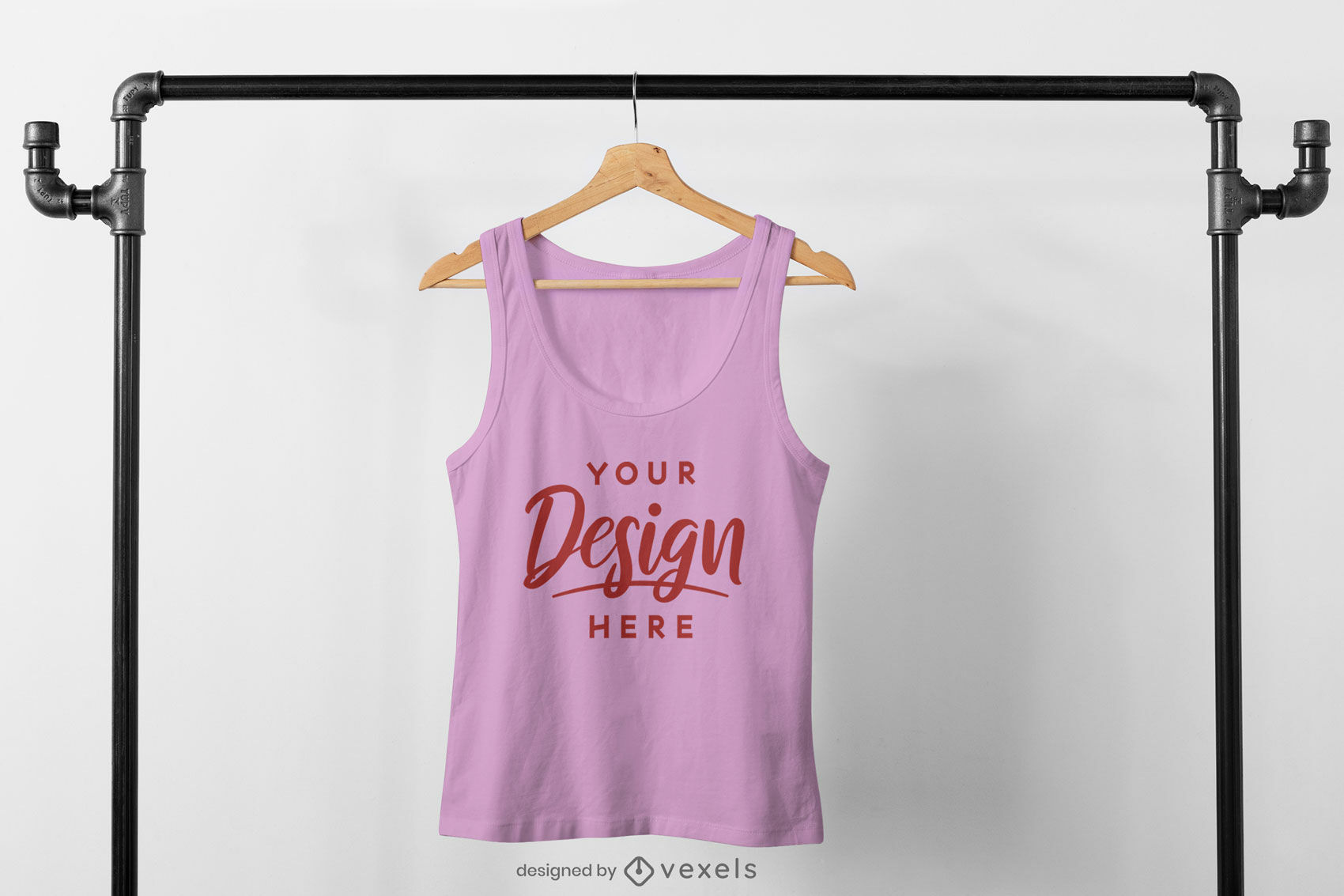 Camiseta sin mangas en maqueta de rack