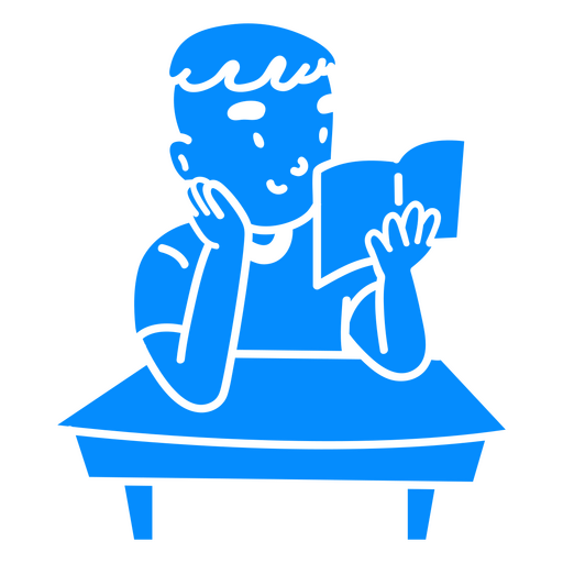 Child boy reading book cut out