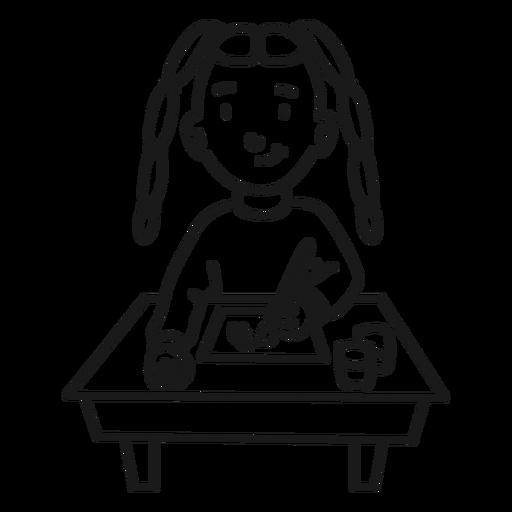 Child girl student painting stroke