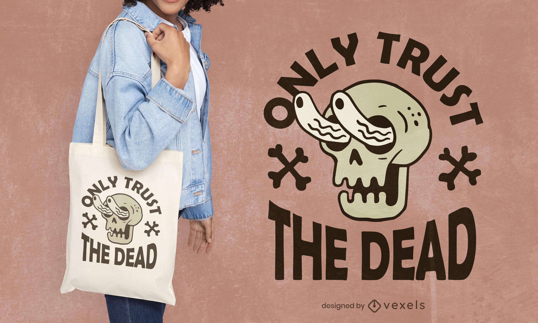 Halloween dead zombie skull tote bag