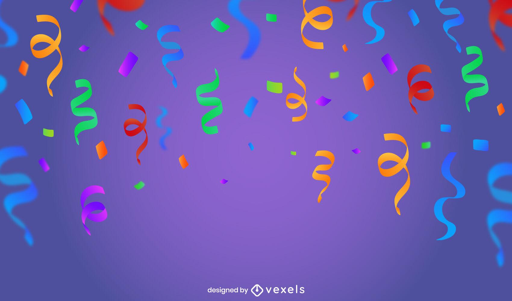 Diseño de fondo de fiesta de confeti colorido