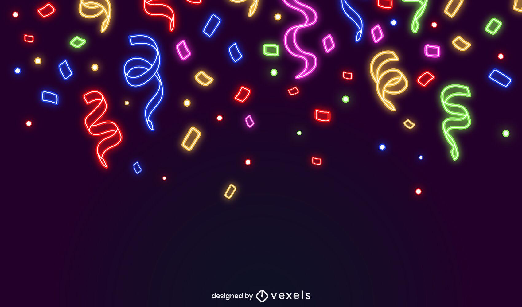 Diseño de fondo de neón de fiesta de confeti