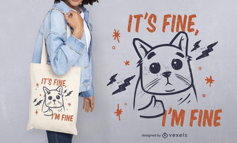 Design de sacola com citação de gato sarcástico