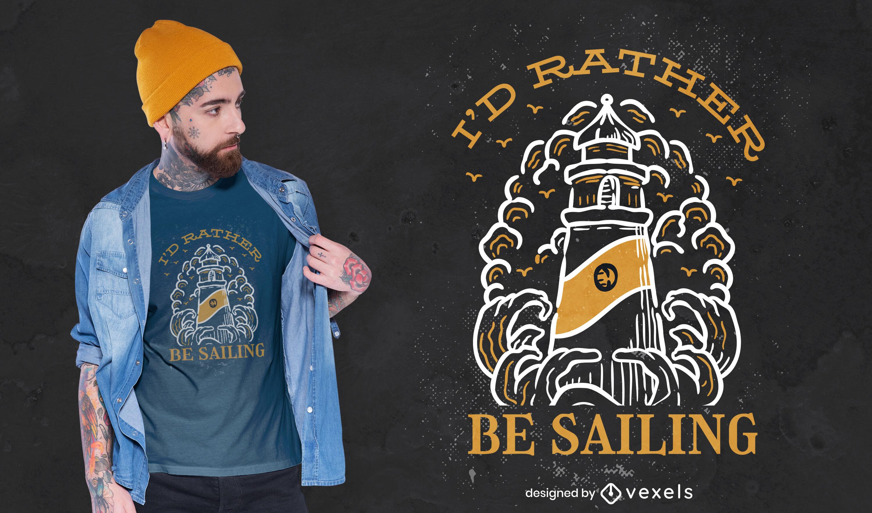 Lighthouse sailing hobby t-shirt design
