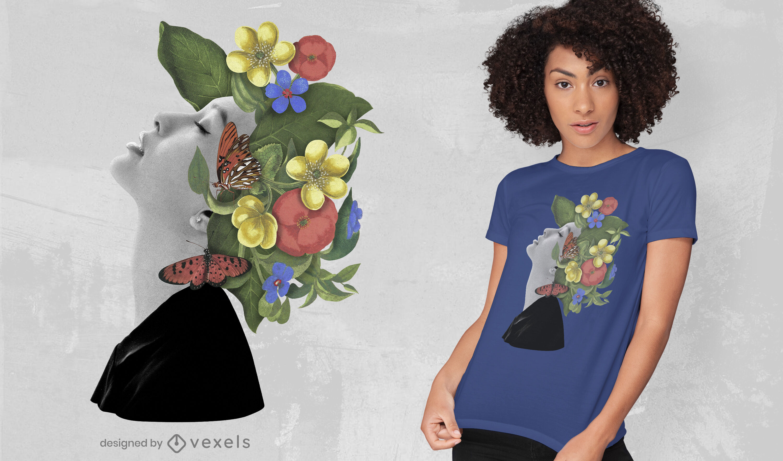 Camiseta mujer con sombrero de flores psd