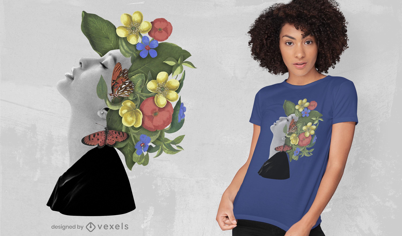 T-shirt psd de mulher com chapéu de flores