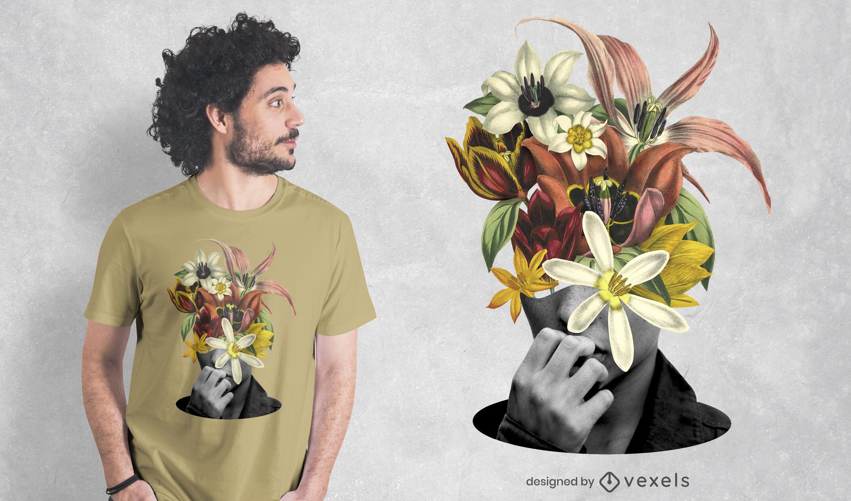 Flores en la cabeza PSD diseño de camiseta.
