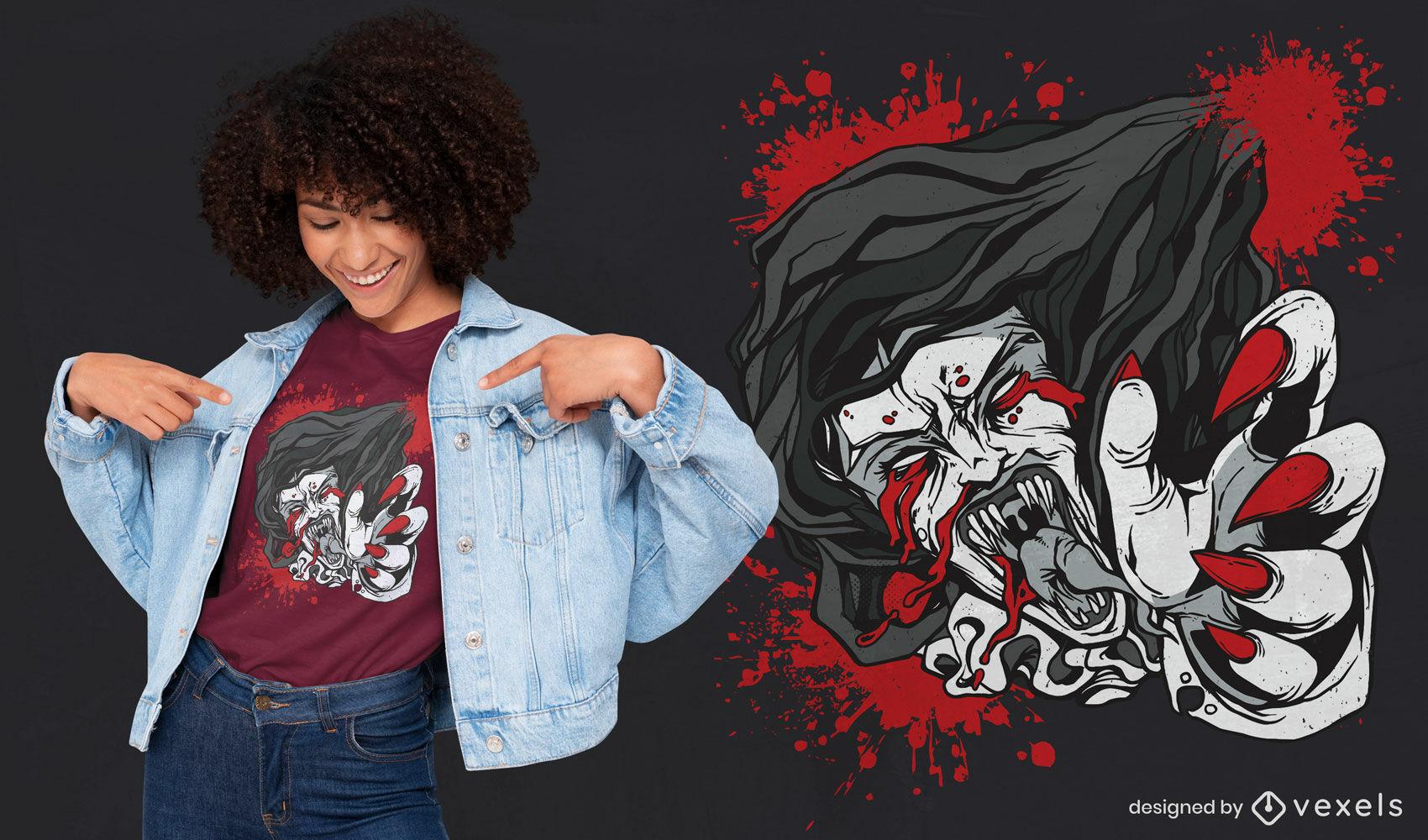 Projeto da camiseta do Dia das Bruxas do Bloody Mary Monster