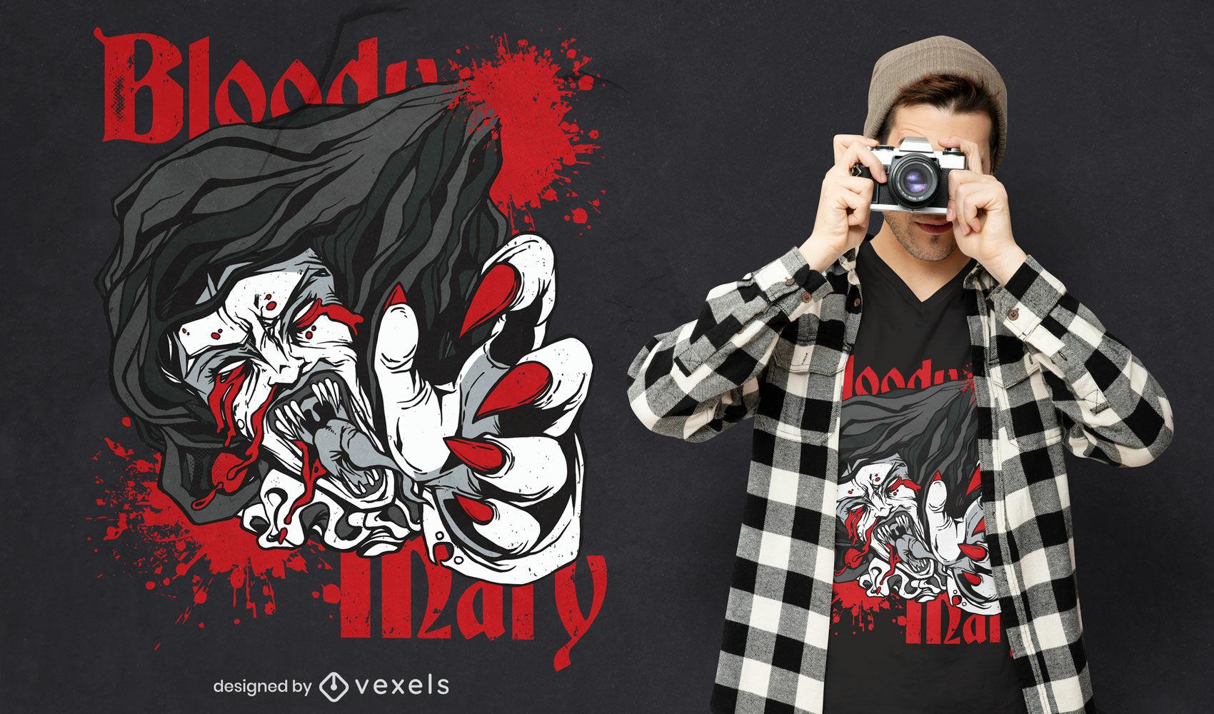 Diseño de camiseta de bloody mary monster halloween