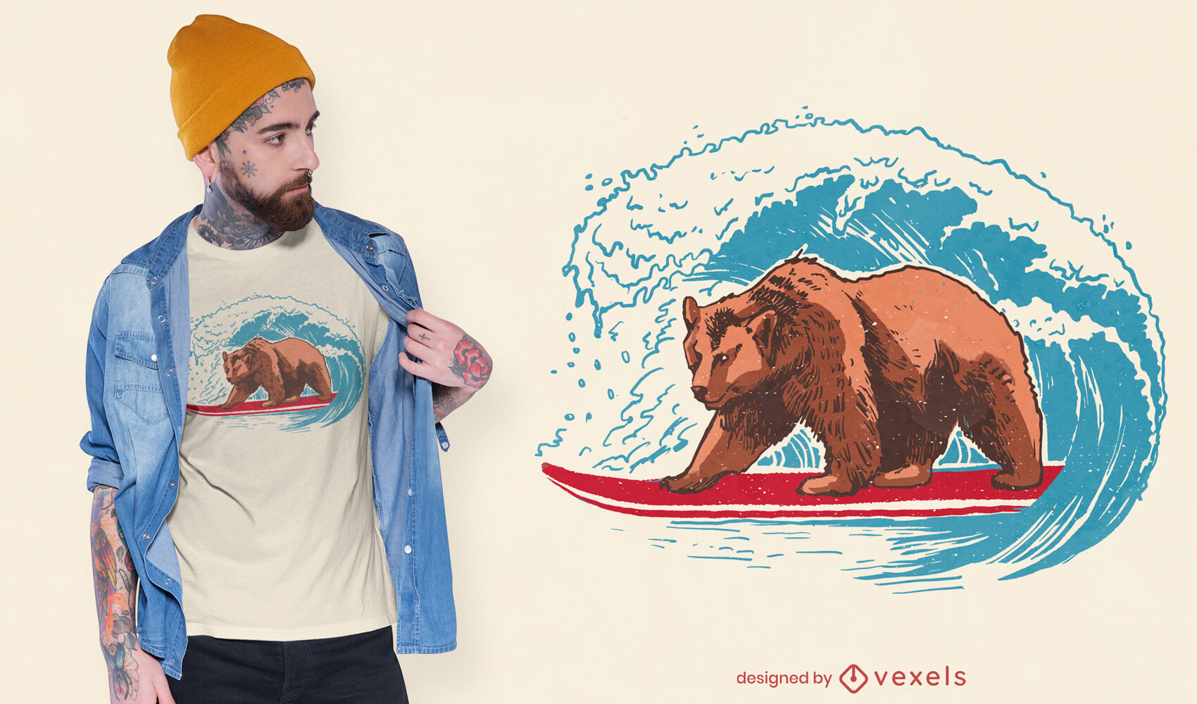 Design de camiseta de urso surfando