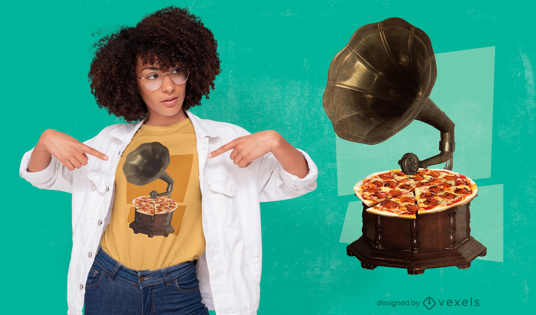 Diseño de camiseta PSD de reproductor de tocadiscos de vinilo de pizza