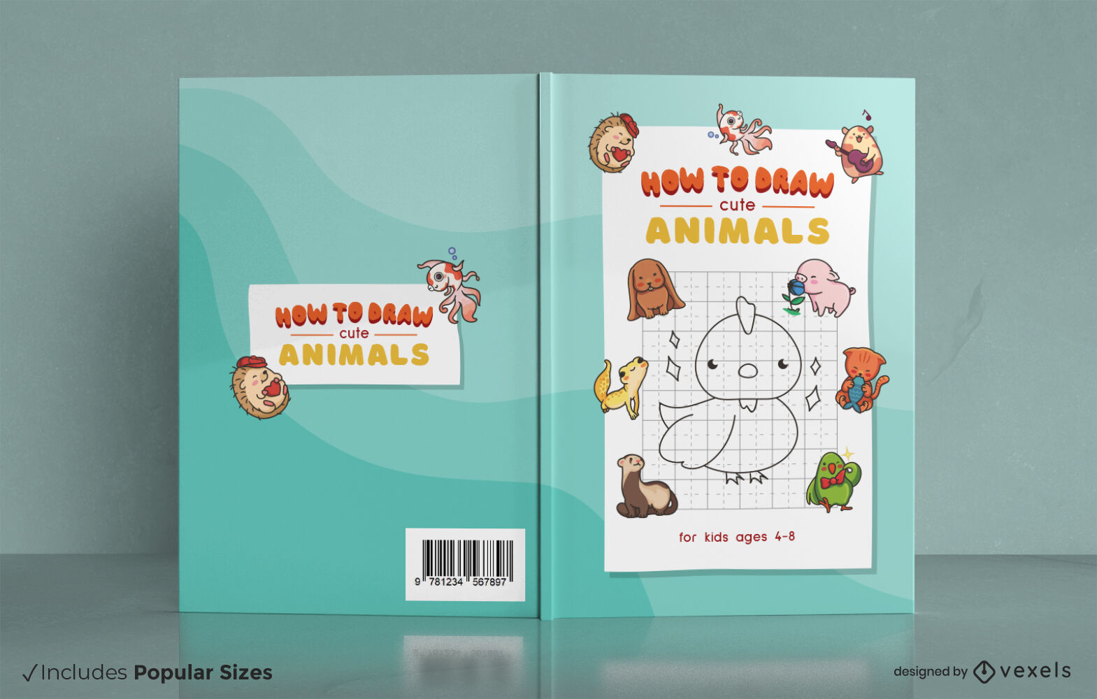 Diseño de portada de libro de dibujo de animales