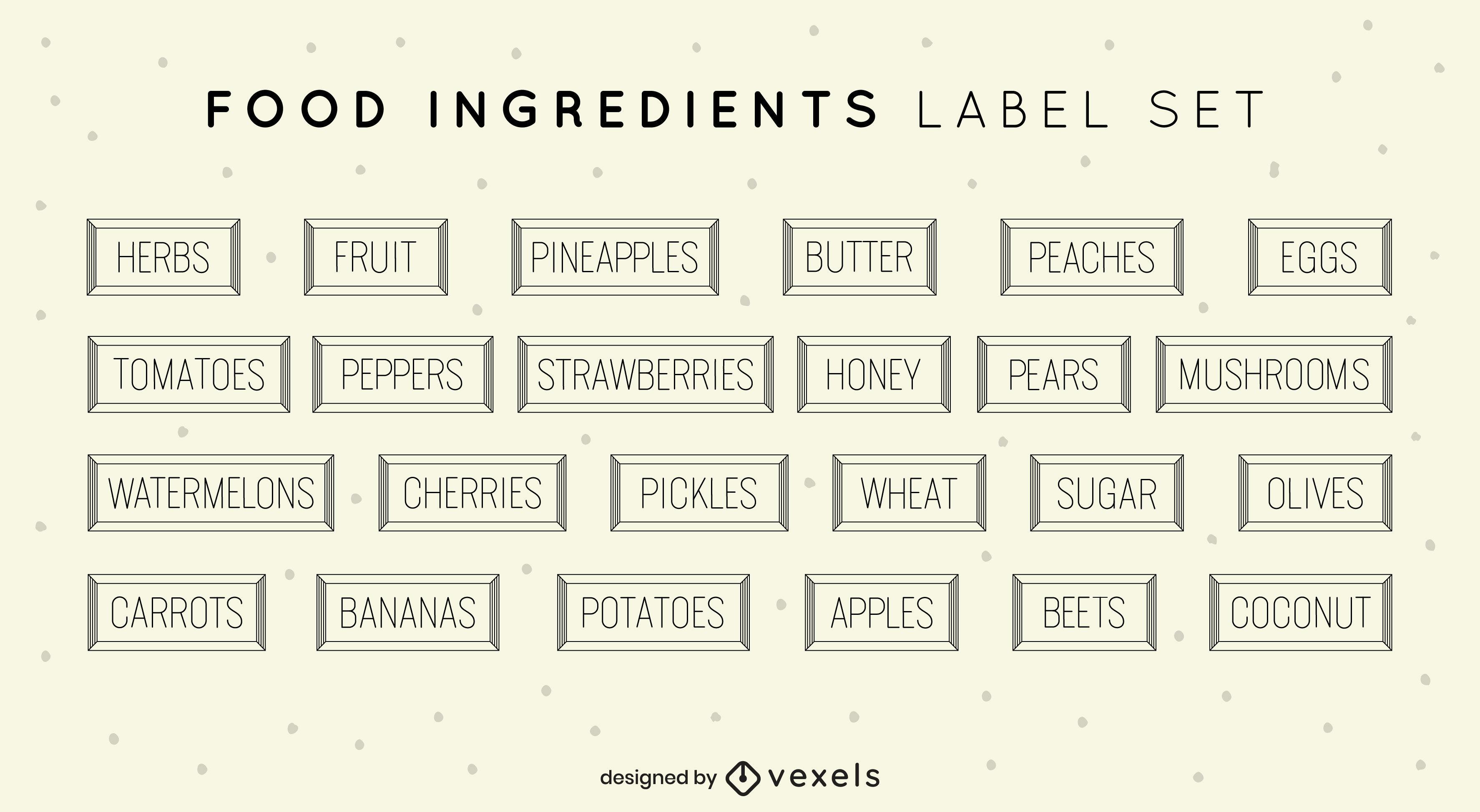 Conjunto de rótulos de cozinha de ingredientes de alimentos