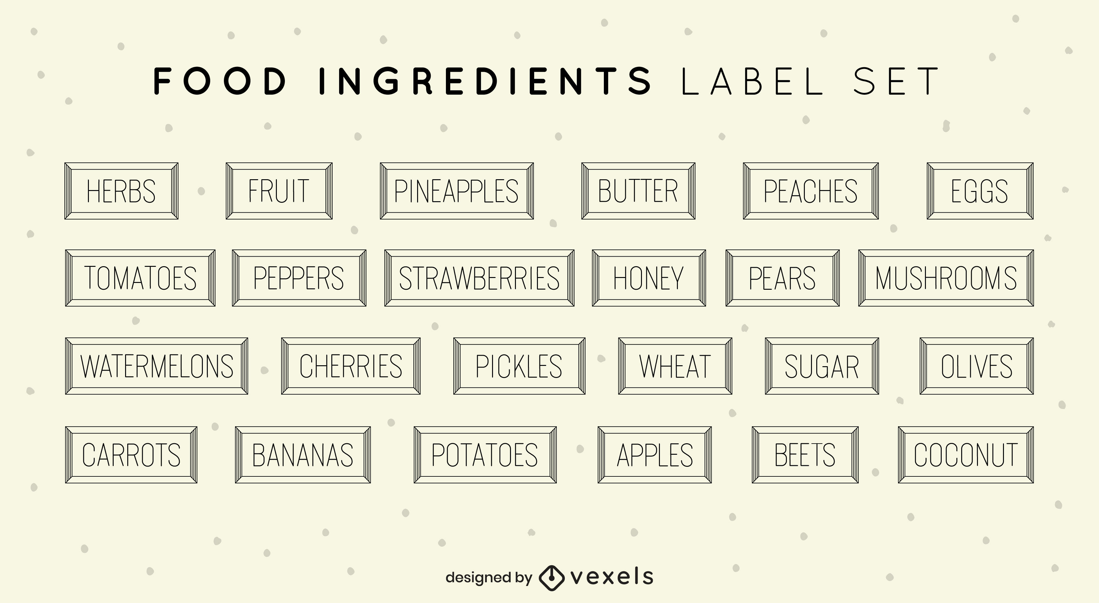 Food ingredients cooking label set