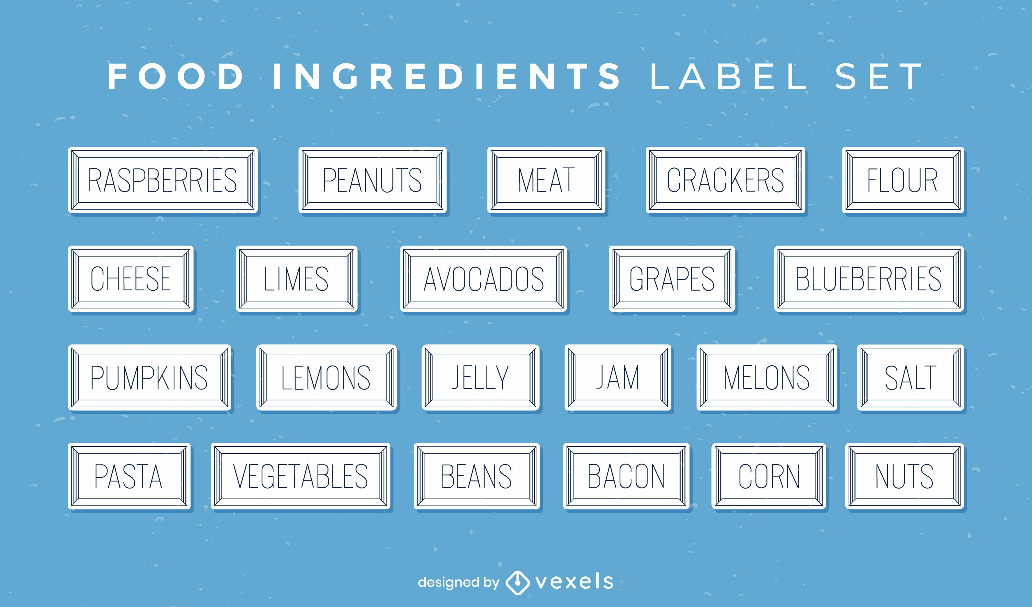 Conjunto de rótulos de passatempo de culinária de ingredientes alimentares