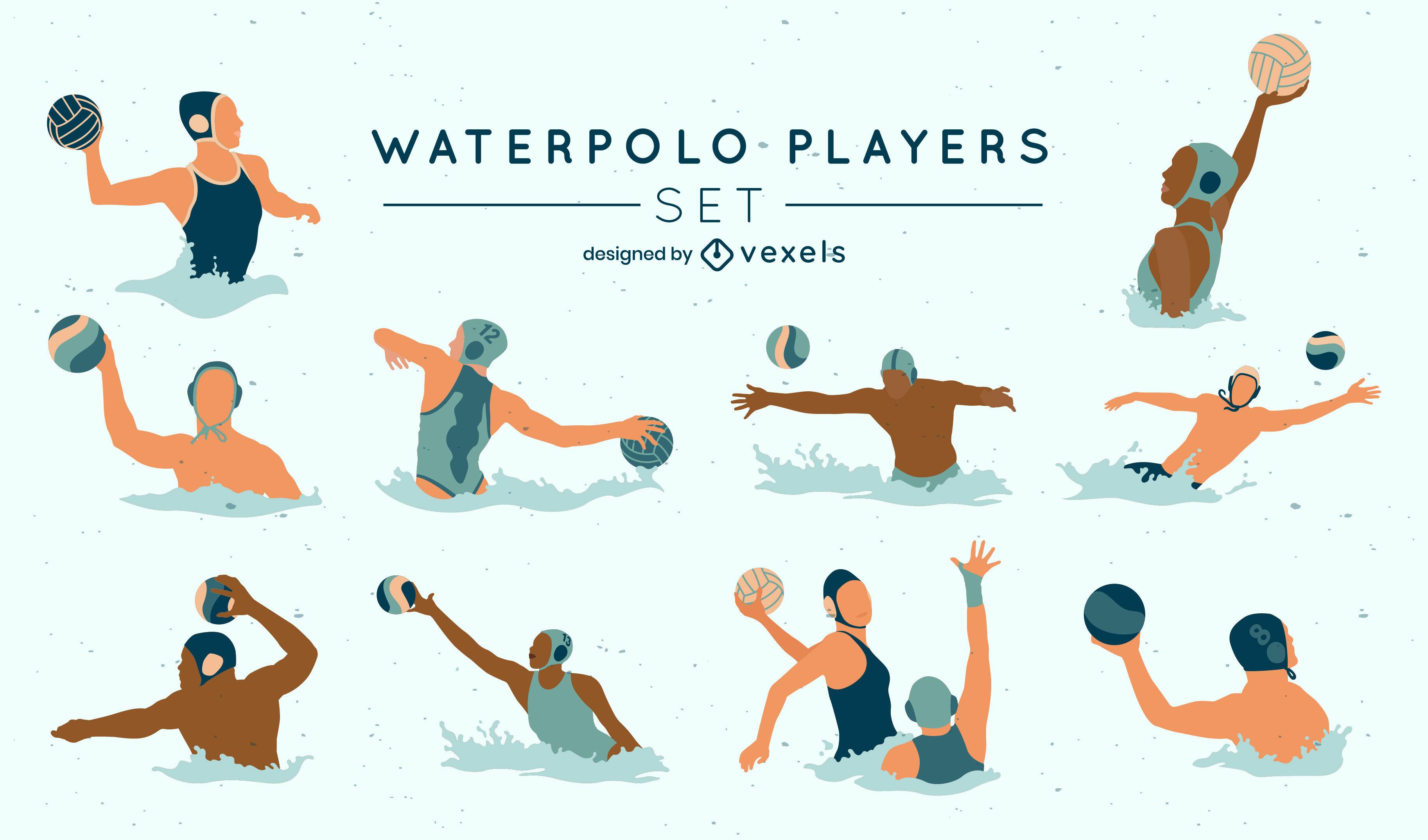 Conjunto plano de deportes acuáticos de jugadores de waterpolo