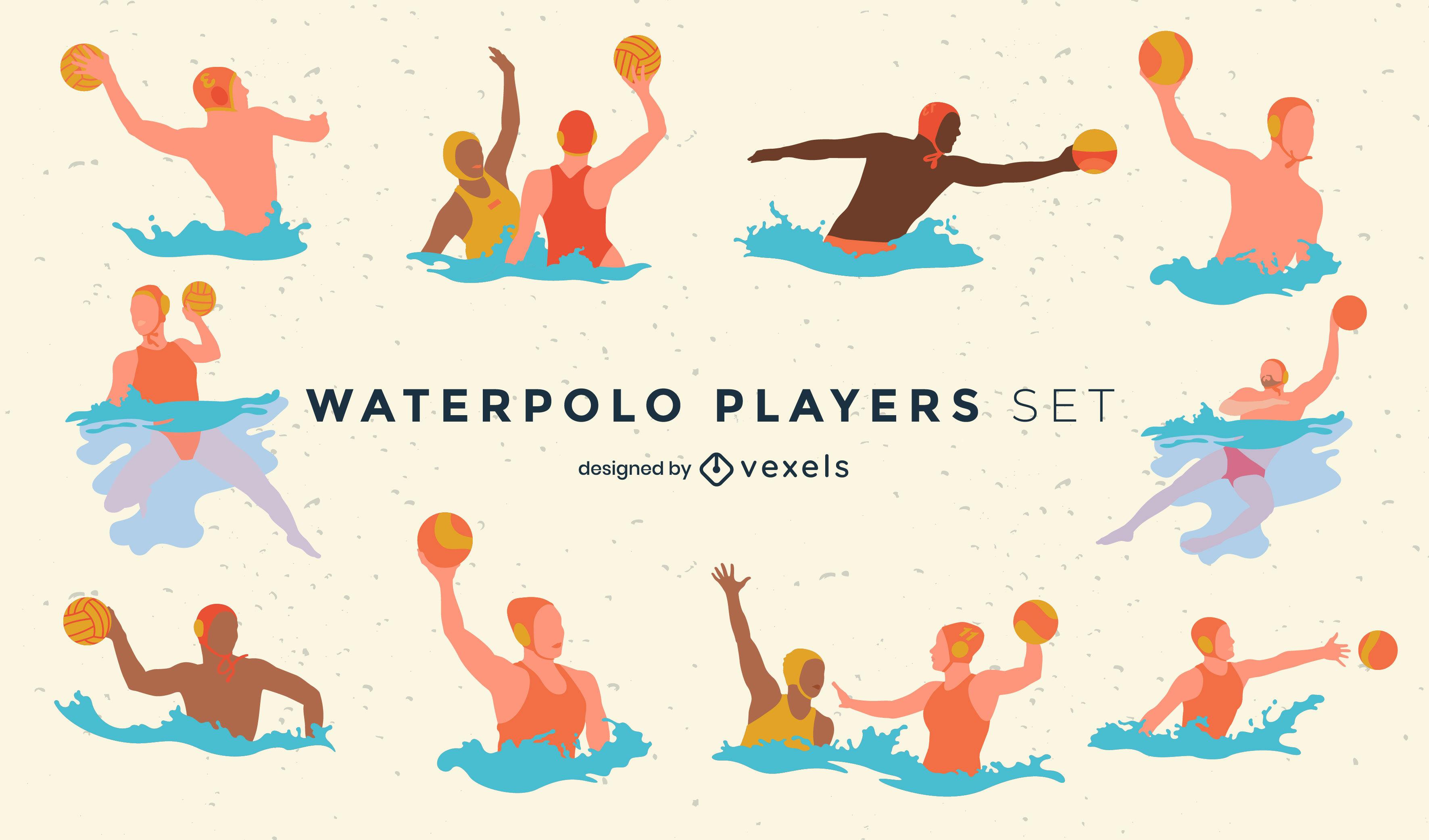 Juego de deportes acuáticos para jugadores de juego de waterpolo