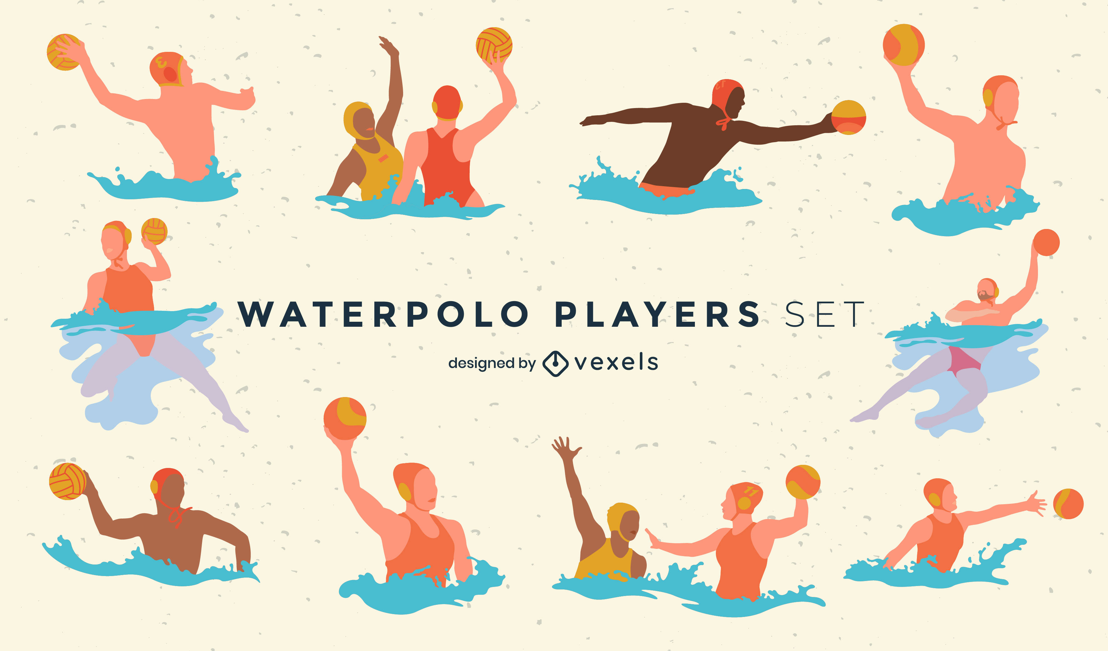 Waterpolo game players water sport set