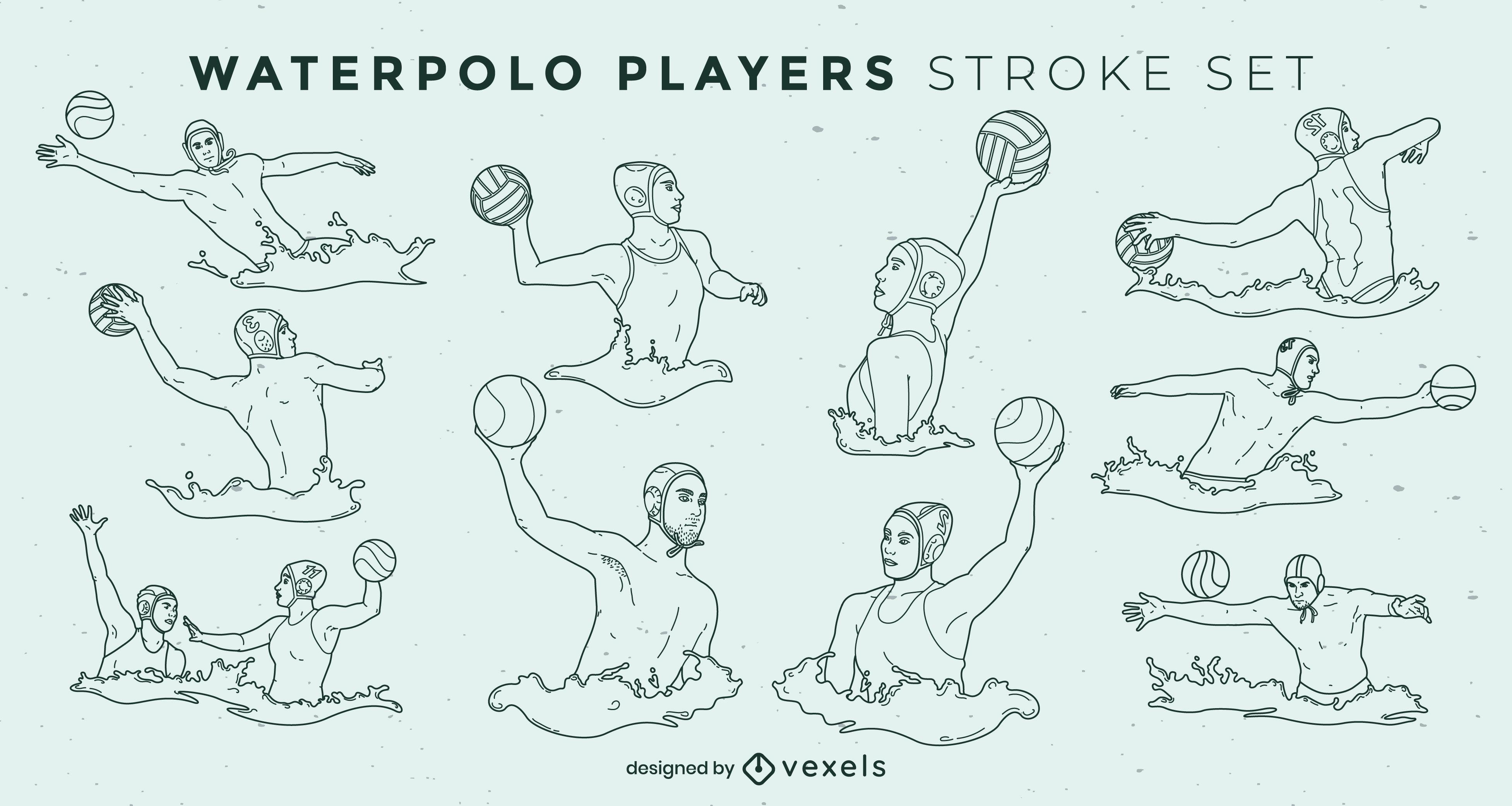 Waterpolo players water sport stroke set