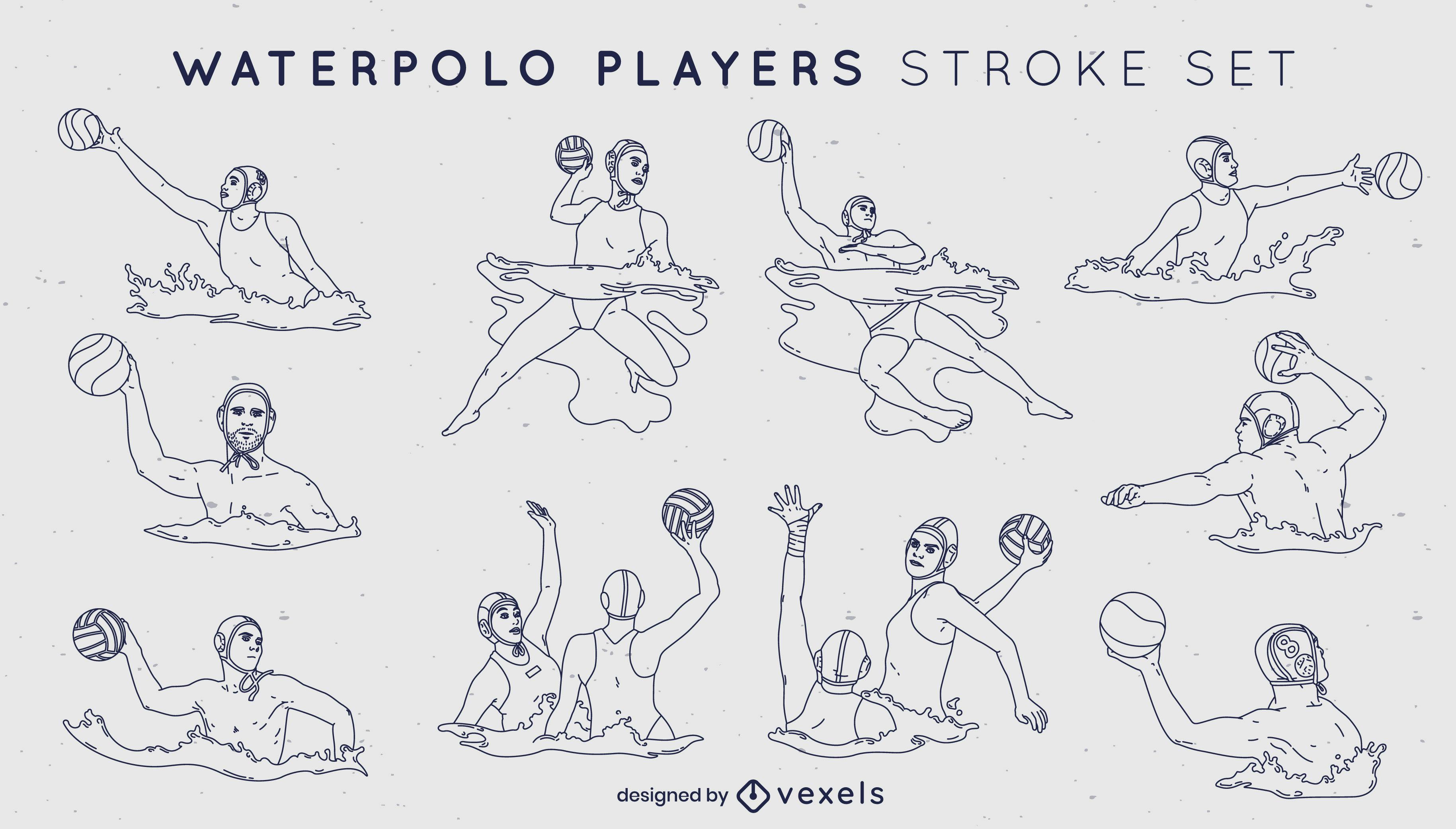 Juego de trazos de jugadores deportivos de waterpolo