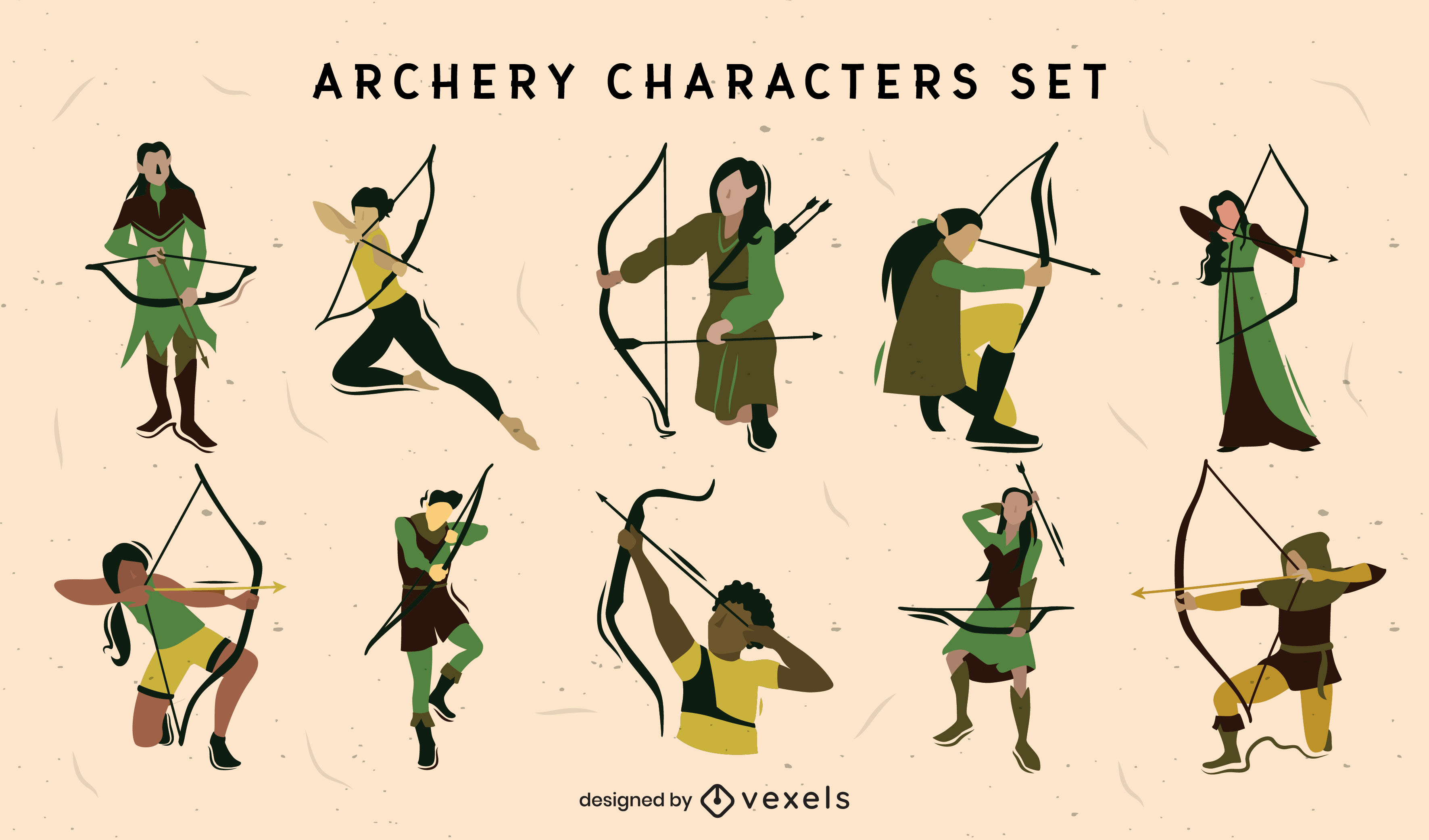 Archery sport medieval character set